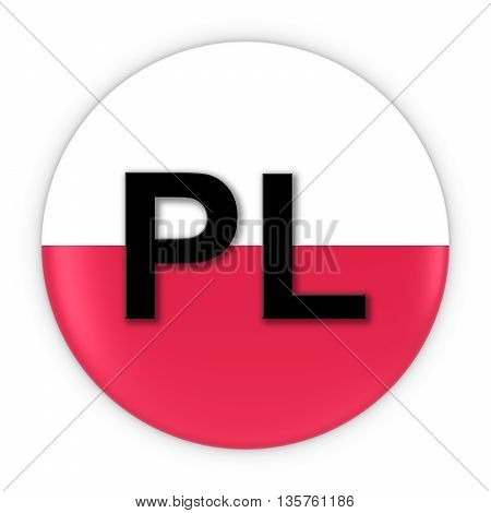 Poland Flag Button With Two Letter Country Iso Code 3D Illustration