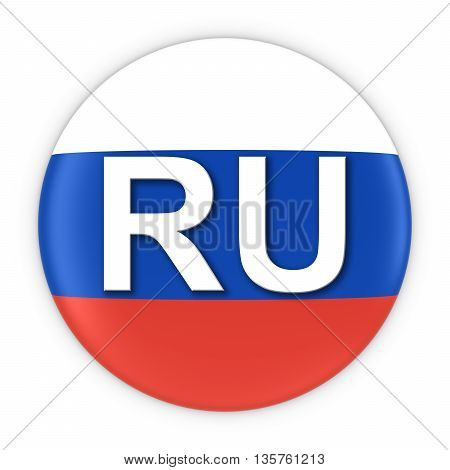 Russia Flag Button With Two Letter Country Iso Code 3D Illustration
