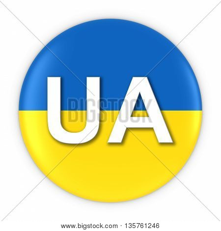 Ukraine Flag Button With Two Letter Country Iso Code 3D Illustration