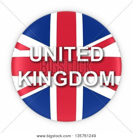 British Flag Button With United Kingdom Text 3D Illustration