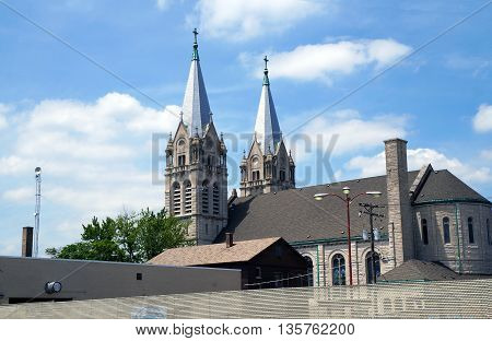 The twin spires of the historic Saint Joseph's Roman Catholic Church are among the most prominent and impressive features of downtown Joliet.