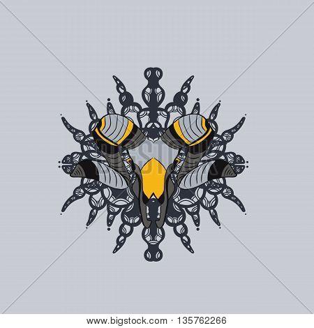 Gray and yellow goat skull. Hand drawn
