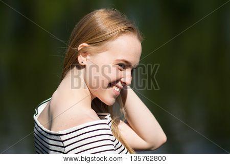 Closeup Of A Pretty Girl Smiling