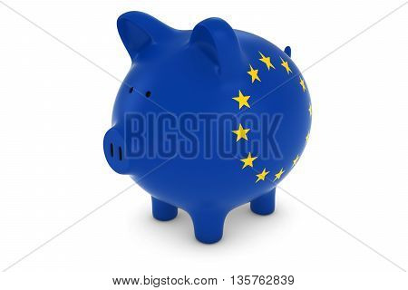 Euro Currency Concept - European Union Flag Piggy Bank 3D Illustration