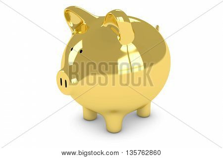 Golden Piggy Bank Isolated On White Background 3D Illustration