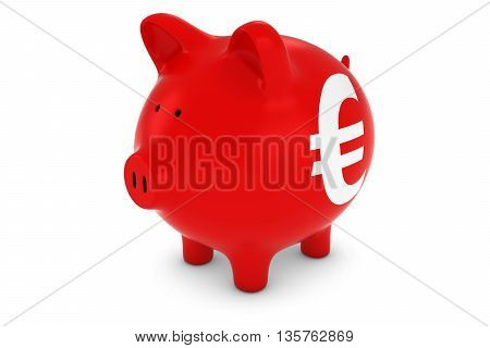 Euro Sign Red Piggy Bank Isolated On White Background 3D Illustration