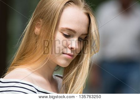Close-up Of Thoughtful Girl
