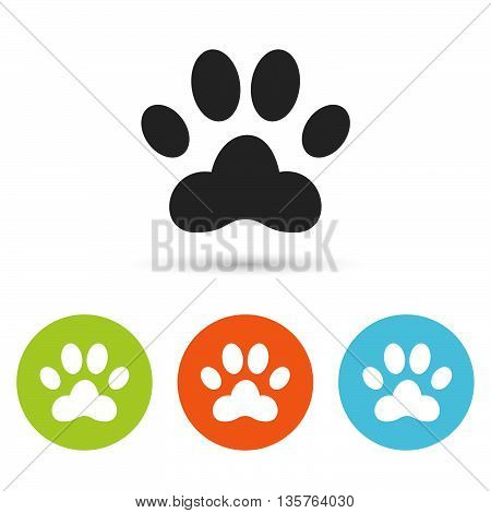 Dog paw icon. Dog paw flat symbol. Dog paw art illustration. Dog paw flat sign. Dog paw graphic icon. Flat icons in circles. Round buttons for web.