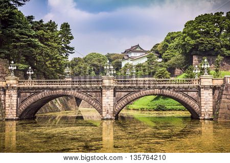 Tokyo Imperial Palace of Japan moat and bridge.
