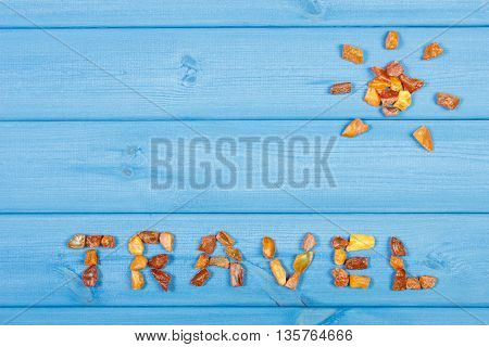 Word Travel And Shape Of Sun On Blue Boards, Summer Time, Copy Space For Text