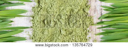 Barley Grass And Heap Of Young Powder Barley, Body Detox