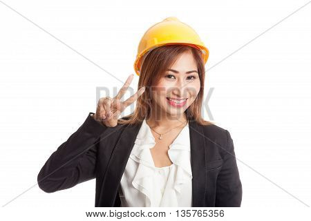 Asian Engineer Woman Show Victory Sign
