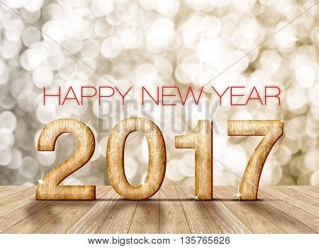 Happy new year 2017 (3d rendering)wood number in perspective room with sparkling gold bokeh light and wooden plank floor.