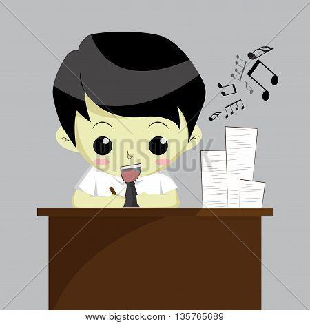 Businessman happy with work. vector illustration. Cartoon isolated. Teenagers cartoon style