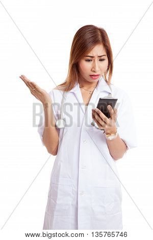 Asian Young Doctor Woman Upset With  Mobile Phone