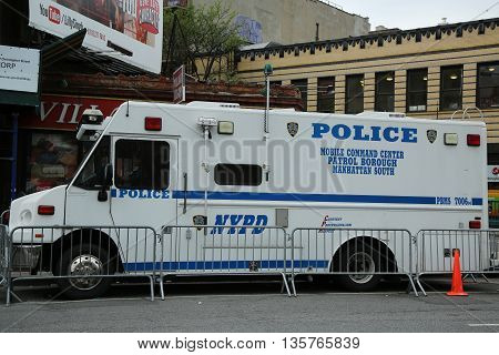 NEW YORK - JUNE 16, 2016: NYPD increase security at the gay rights landmark Stonewall Inn  in New York City after mass shooting in Pulse Club, Orlando