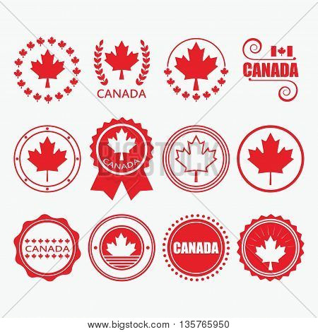 Red Canada flag emblems stamps and design elements set