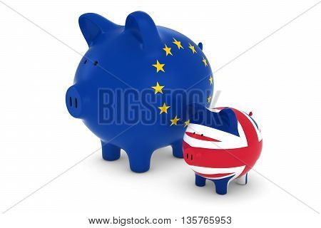 Eu Flag And Uk Flag Piggybanks Exchange Rate Concept 3D Illustration