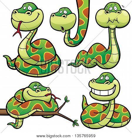 Vector Illustration of Cartoon Snake Character Set