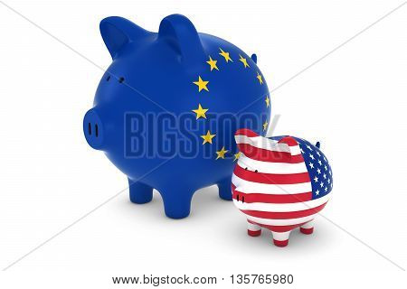 Eu Flag And Us Flag Piggybanks Exchange Rate Concept 3D Illustration