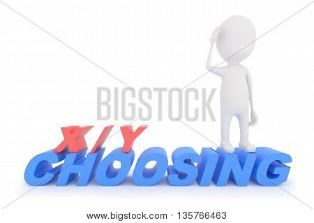 3D Character Standing On Text X/y Choosing , Confused Of Making A Choice Of What To Achieve Or Get -