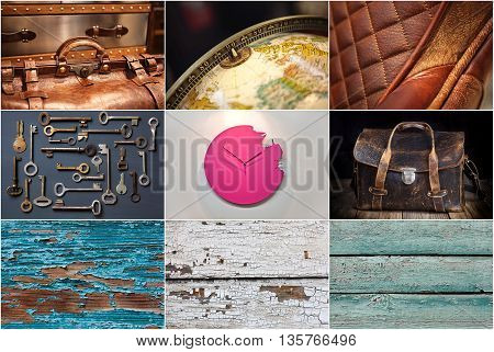 set of leather bags, interior decoration and wood texture