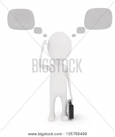 3D Character Confused Having Different Thoughts Concept