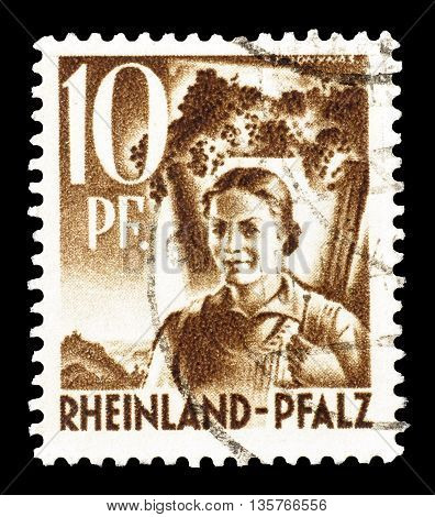 RHEINLAND - CIRCA 1948 : Cancelled postage stamp printed by Rheinland, that shows woman.