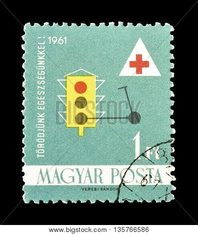 HUNGARY - CIRCA 1961 : Cancelled postage stamp printed  Hungary, that shows road signs.