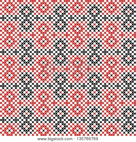 Seamless embroidered texture of abstract flat black and red patterns, cross-stitch