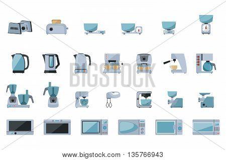 Set of kitchen appliances on white background