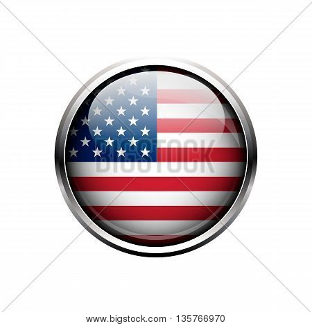 USA flag. Round metal glass glossy button or icon isolated on a white background. United State of America flag on button. USA flag icon. USA flag vector.