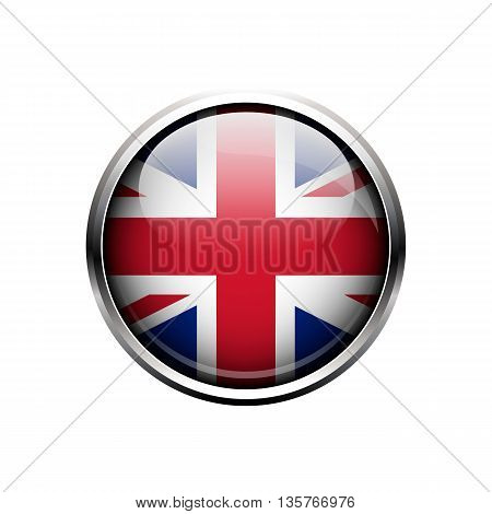 UK flag. Round metal glass glossy button or icon isolated on a white background.UK flag button. Great Britain, United Kingdom flag. UK vector icon.