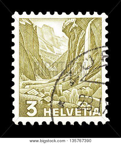 SWITZERLAND - CIRCA 1934 : Cancelled postage stamp printed by Switzerland, that shows Staubbach falls.