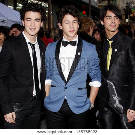 Kevin Jonas, Nick Jonas and Joe Jonas at the World premiere of 'Jonas Brothers: The 3D Concert Experience' held at the El Capitan Theater in Hollywood, USA on February 24, 2009.