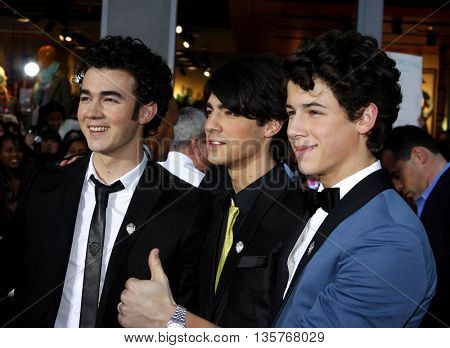 Kevin Jonas, Joe Jonas and Nick Jonas of Jonas Brothers at the World premiere of 'Jonas Brothers: The 3D Concert Experience' held at the El Capitan Theater in Hollywood, USA on February 24, 2009.