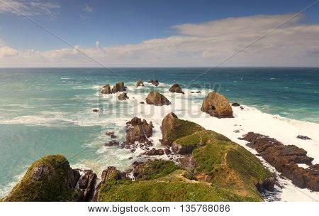 Beautiful landscape of Nugget Point, New Zealand.