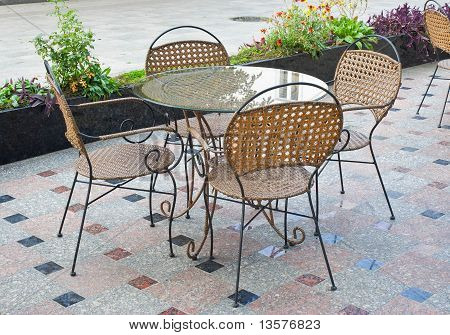 Empty table in a lonely street cafe