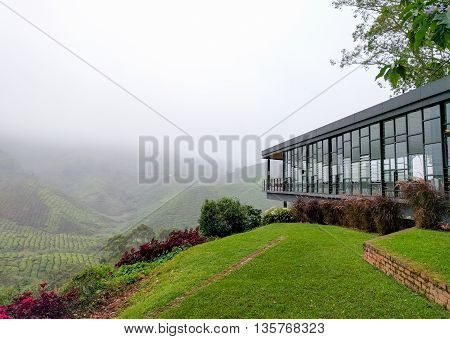 View of tea shop and tea plantations covered with fog at Cameron Highlands Malaysia.