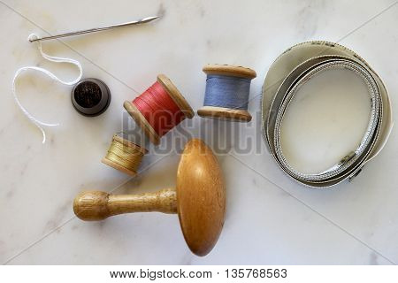 Home traditional sewing kit for making clothes or mending.