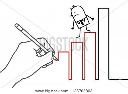 Drawing big hand and  businessman - climbing down