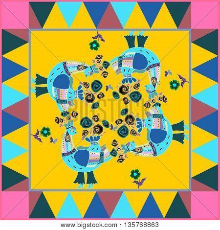 Bright square card with fantasy birds. Bandana, shawl, fabric print, silk neck scarf or kerchief design. Vector illustration.