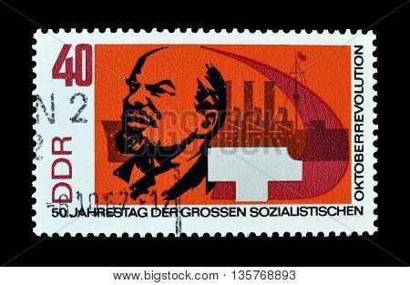 GERMAN DEMOCRATIC REPUBLIC - CIRCA 1967 : Cancelled postage stamp printed by German Democratic Republic, that shows Lenin.