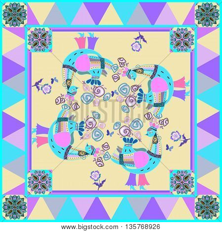 Beautiful bandana print with fantasy birds and flowers on geometrical background. Silk neck scarf or kerchief square pattern design style for print. Vector illustration.