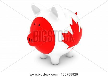 Canadian Currency Concept - Canadian Flag Piggy Bank 3D Illustration