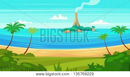 Holidays by the sea. View of the island in the ocean. Vector design illustration for web design development, natural landscape graphics.