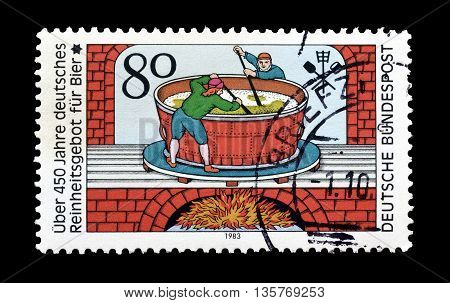 GERMANY - CIRCA 1983 : Cancelled postage stamp printed by Germany, that celebrates 450th anniversary of beer pureness law.