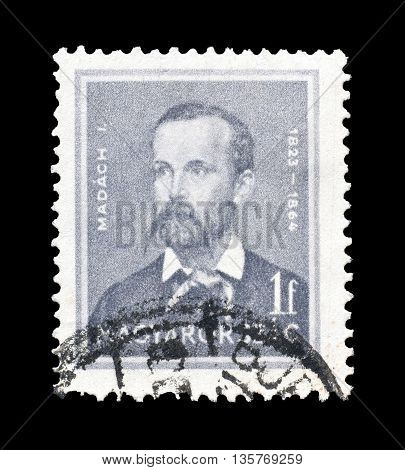 HUNGARY - CIRCA 1939 : Cancelled postage stamp printed by Hungary, that shows Imre Madach.
