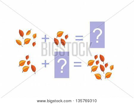 Cartoon illustration of mathematical addition. Examples with colorful autumn leaves. Educational game for children.