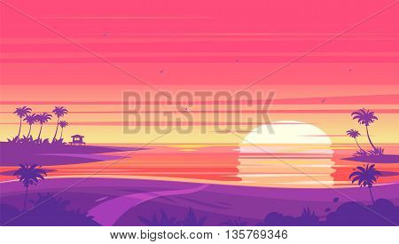 Sunset beach landscape with Sunset with palm trees and bungalows . Vector design illustration for web design development, natural landscape graphics.